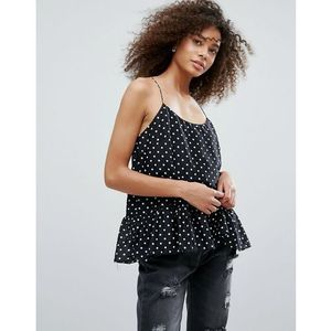 polka dot peplum top - black, Traffic people, 34-36
