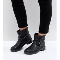 Asos design Asos accent wide fit studded biker ankle boots - black