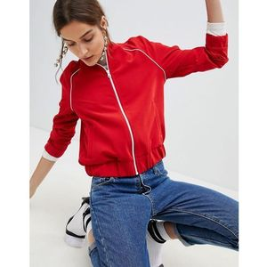 Stradivarius Zip Up Sports Jacket - Red, kolor czerwony