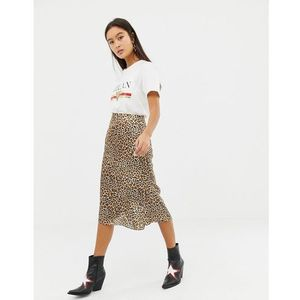 Glamorous satin midi skirt in leopard print - brown