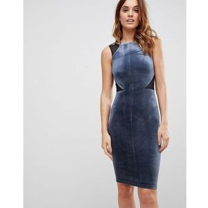 viven velvet panel bodycon dress - navy marki French connection