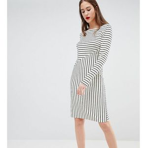 Y.a.s tall stripe sweater dress - white