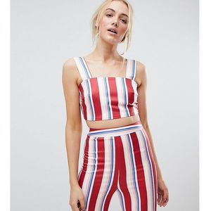 Fashion Union Tall Crop Top In Stripe Co-Ord - Red