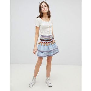 tiered embroidered skirt - blue marki Glamorous