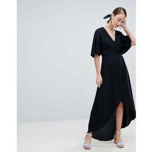 wrap asymmetric dress - black, New look