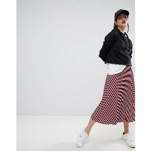 Stradivarius Multi Stripe Plisse Midi Skirt - Red, 1 rozmiar