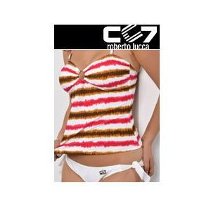 Set kąpielowki cc7 tanikini pink stripes + briefs cool white no. 37, Cc7 roberto lucca