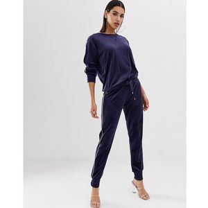Hunkemoller velour joggers with piping in navy - navy