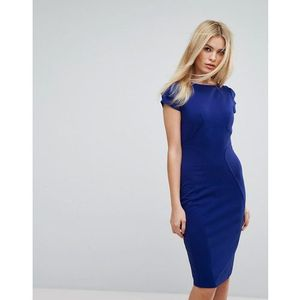 Closet london Closet pencil dress with ruched cap sleeve - blue