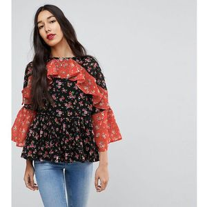 mix & match floral print tiered ruffle blouse - multi, Asos tall