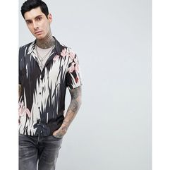 Allsaints short sleeve revere shirt with hawaiian print - black