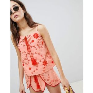 Glamorous Top With Tassel Tie Front In Contrast Embroidery Co-Ord - Pink