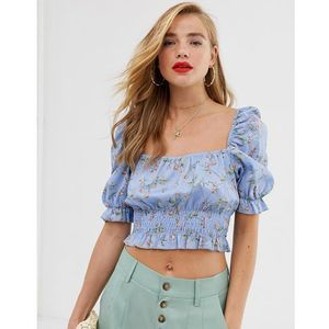 In The Style x Laura Jade puff sleeve shirred frill top in blue floral - Multi