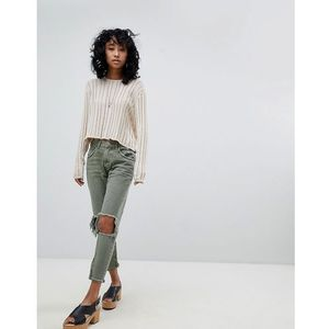 One Teaspoon Freebirds Highwaisted Skinny Jean with Exposed Knees and Raw Hem - Green, skinny