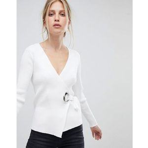 knitted top with hardwear detail - white, Morgan