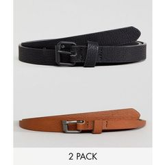 ASOS 2 Pack Faux Leather Super Skinny Belt in Tan and Black SAVE - Multi
