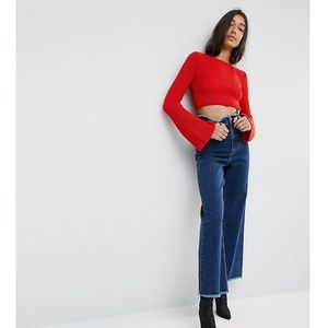 ASOS TALL Wide Leg Jeans With Raw Waistband in Blue - Blue