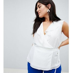 Fashion Union Plus Wrap Top With Ruffle Detail - White, kolor biały