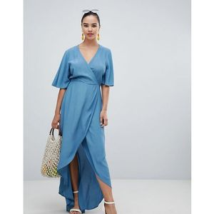 wrap asymmetric dress - blue marki New look