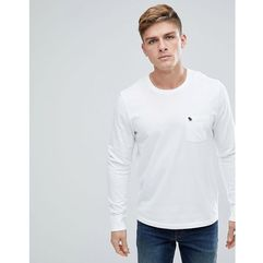 crew neck pocket long sleeve top tonal logo in bright white - white marki Abercrombie & fitch