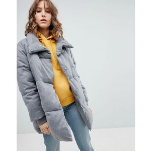 padded quilted coat - grey marki New look