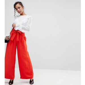 belted super wide leg trousers - red marki River island petite