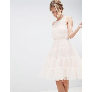 Little Mistress Mesh Prom Dress With Tiered Skirt - Pink, kolor różowy