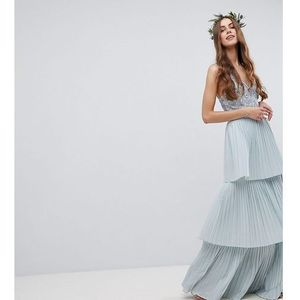 floral sequin top maxi bridesmaid dress with tiered ruffle pleated skirt - blue, Maya tall