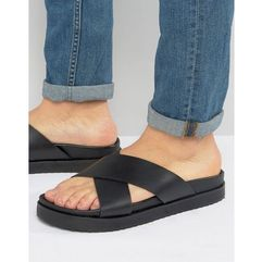 ASOS Cross Over Strap Slide Sandals in Black Leather - Black, kolor czarny