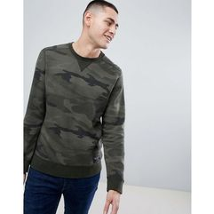 Abercrombie & Fitch Destroyed Military Camo Print Logo Crewneck Sweatshirt in Green - Green, w 4 rozmiarach
