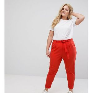woven peg trousers with obi tie - red, Asos curve