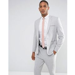 Asos design skinny suit jacket in grey with contrast pink scuba lining - grey