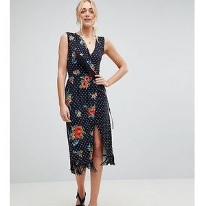wrap dress with fringe in mixed floral - multi, Asos tall