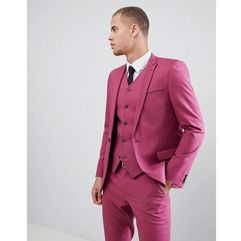 ASOS DESIGN skinny suit jacket in berry pink - Red