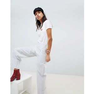 Lost ink trouser with wide leg and turn ups in stripe - grey
