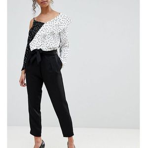 River Island Petite Tie Waist Tapered Trousers - Black