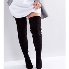 ASOS KATCHER Wide Fit Tall Over The Knee Boots - Black