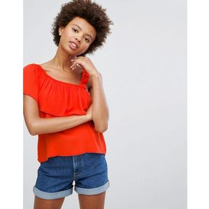 Pull&bear top with asymetric ruffle - red