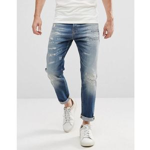 Selected homme jeans in tapered fit with rip repair italian denim - blue