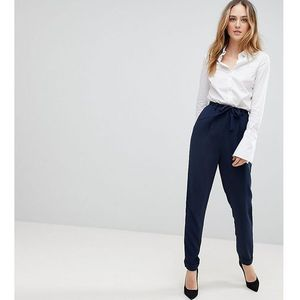 woven peg trousers with obi tie - navy, Asos tall