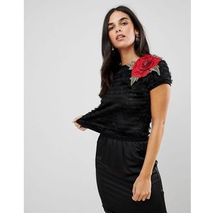 textured cropped top with rose applique - black marki Traffic people