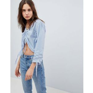 Brave Soul Ruched Front Blouse in Stripe - Blue
