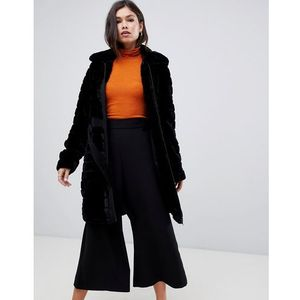 Y.a.s faux fur textured belted coat - black