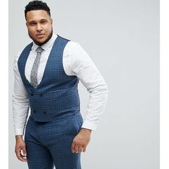 Asos plus skinny suit waistcoat in blue gradient wool blend check - blue