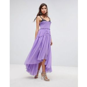 tulle dip back maxi dress with chain straps - purple, Asos edition