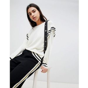 Esprit Stripe And Frill Jumper - Cream, kolor beżowy