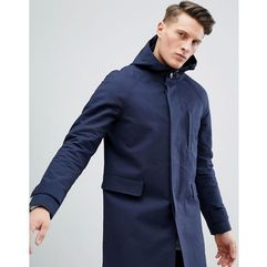 ASOS Hooded Trench Coat With Shower Resistance in Navy - Navy, w 3 rozmiarach