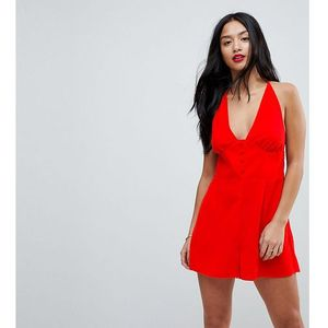 playsuit with button front detail - red marki Asos petite