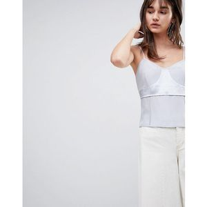 Asos white silk cami top with raw edge detail - grey