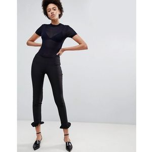 tailored trouser with ruffle hem - black marki Unique21